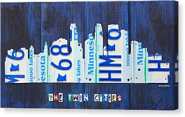 Minneapolis Minnesota City Skyline License Plate Art The Twin Cities Canvas Print by Design Turnpike