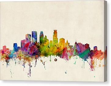 Minneapolis Minnesota Skyline Canvas Print by Michael Tompsett