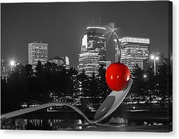 Minneapolis Skyline And Cherry Canvas Print by Near and Far Photography