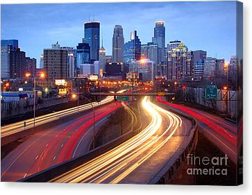 Minneapolis Skyline At Dusk Early Evening Canvas Print by Jon Holiday