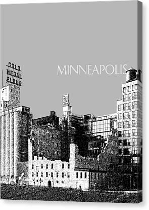 Minneapolis Skyline Mill City Museum - Silver Canvas Print by DB Artist