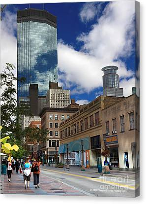 Minneapolis Skyline Photography Nicollet Mall Canvas Print by Wayne Moran