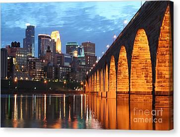 Minneapolis Skyline Photography Stone Arch Bridge Canvas Print by Wayne Moran