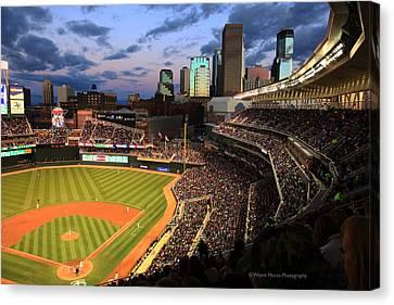 Minnesota Twins Minneapolis Skyline Target Field Canvas Print by Wayne Moran