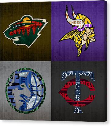 Minneapolis Sports Fan Recycled Vintage Minnesota License Plate Art Wild Vikings Timberwolves Twins Canvas Print by Design Turnpike