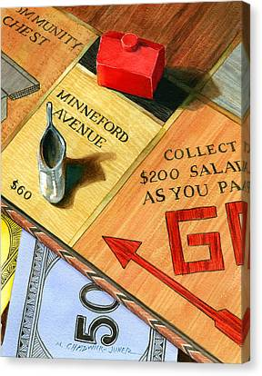 Minneford Monopoly Canvas Print by Marguerite Chadwick-Juner