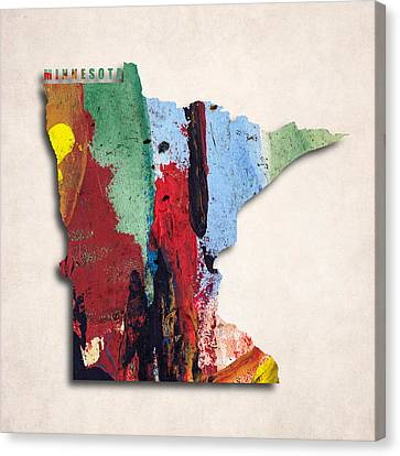 Minnesota Map Art - Painted Map Of Minnesota Canvas Print by World Art Prints And Designs