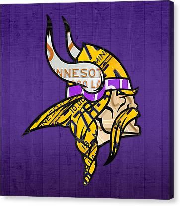 Minnesota Vikings Football Team Retro Logo Minnesota License Plate Art Canvas Print by Design Turnpike