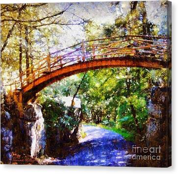 Minnewaska Wooden Bridge Canvas Print by Janine Riley