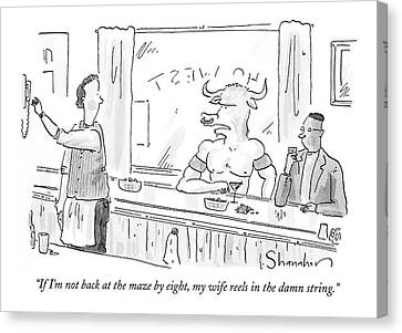 Minotaur At Bar Talking To Bartender Reaching Canvas Print by Danny Shanahan