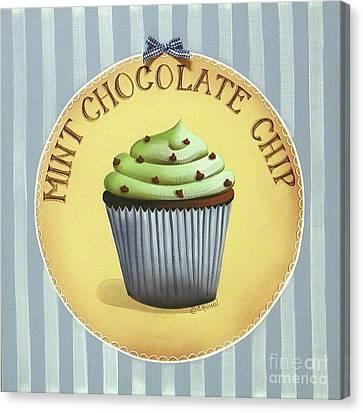 Mint Chocolate Chip Cupcake Canvas Print by Catherine Holman