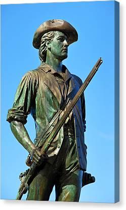 Minuteman Statue At Old North Bridge Canvas Print by Brian Jannsen