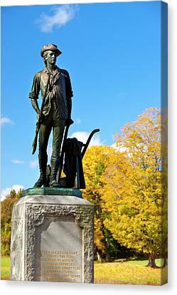 Minuteman Statue In Autumn At Old North Canvas Print by Brian Jannsen