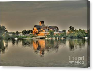 Mirrored Boat House Canvas Print by Jim Lepard