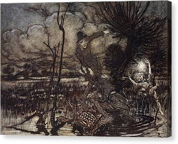 Mislead Night-wanderers, Laughing Canvas Print by Arthur Rackham