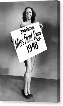 Miss Front Page Of 1948. Canvas Print by Underwood Archives