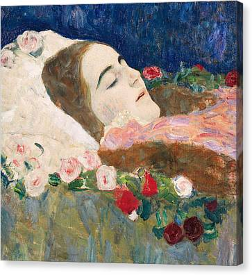 Miss Ria Munk On Her Deathbed Canvas Print by Gustav Klimt