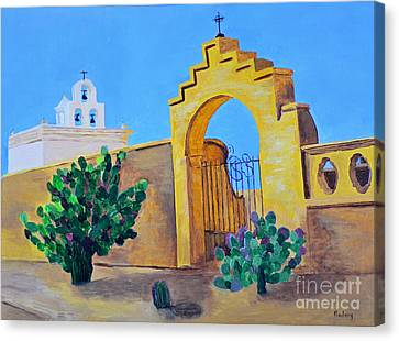 Canvas Print featuring the painting Mission San Xavier by Rodney Campbell