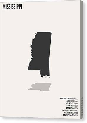 Mississippi Minimalist State Map With Stats Canvas Print by Finlay McNevin