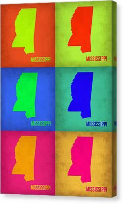 Mississippi Pop Art Map 1 Canvas Print by Naxart Studio