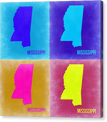 Mississippi Pop Art Map 2 Canvas Print by Naxart Studio