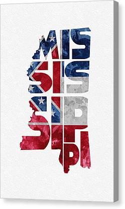 Mississippi Typographic Map Flag Canvas Print by Ayse Deniz