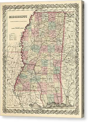 Mississippi Vintage Antique Map Canvas Print by World Art Prints And Designs