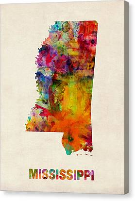 Mississippi Watercolor Map Canvas Print by Michael Tompsett