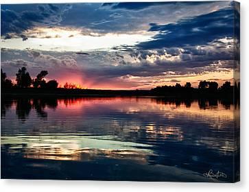 Missouri River Sunset Canvas Print by Renee Sullivan