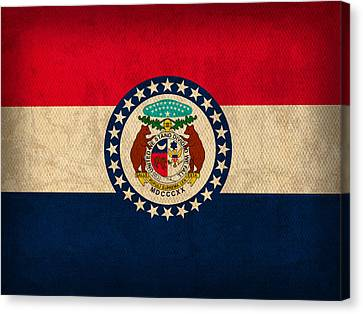 Missouri State Flag Art On Worn Canvas Canvas Print by Design Turnpike