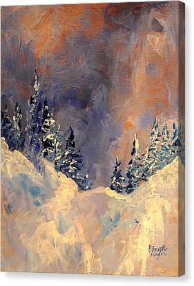 Mist On The Snow Peak Canvas Print by Patricia Brintle