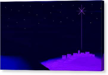 Misty Bethlehem Star Nativity Landscape II Canvas Print by L Brown