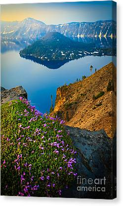 Misty Crater Lake Canvas Print by Inge Johnsson