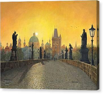 Misty Dawn Charles Bridge Prague Canvas Print by Richard Harpum