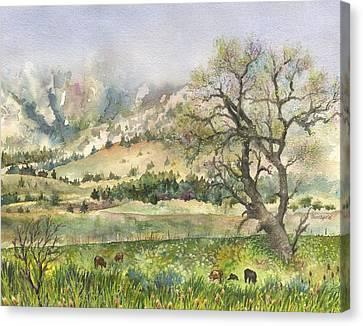 Misty Flatirons Canvas Print by Anne Gifford
