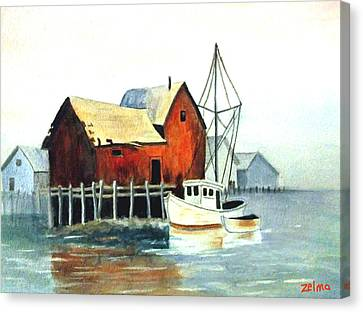 Misty Harbor Canvas Print by Zelma Hensel