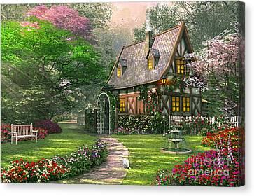 Misty Lane Cottage Canvas Print by Dominic Davison