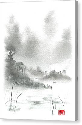 Misty Morning Fishing Village Canvas Print by Sean Seal