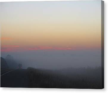 Misty Morning Road Canvas Print by Wendy J St Christopher