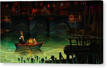 Misty Night Canvas Print by Kristina Vardazaryan