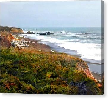 Misty Ocean Shoreline Canvas Print by Elaine Plesser