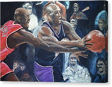 Mitch Richmond And Michael Jordan Canvas Print by Paul Guyer