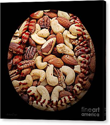 Mixed Nuts Baseball Square Canvas Print by Andee Design