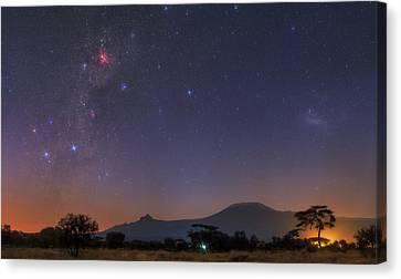 Mliky Way And Large Magellanic Cloud Canvas Print by Babak Tafreshi