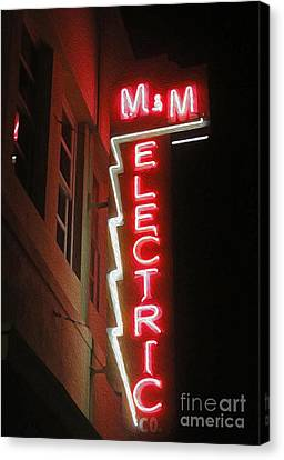 Mm Electric Sign At Night Canvas Print by Gregory Dyer