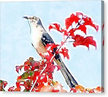 Mockingbird In The Leaves - Watercolor Canvas Print by Kerri Farley