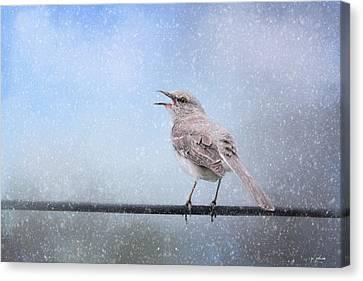 Mockingbird In The Snow Canvas Print by Jai Johnson