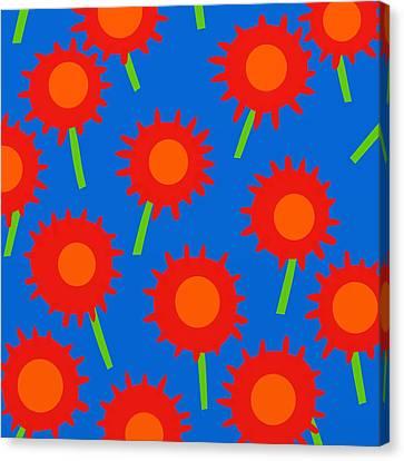 Mod Spiky Flowers Canvas Print by Marlene Kaltschmitt