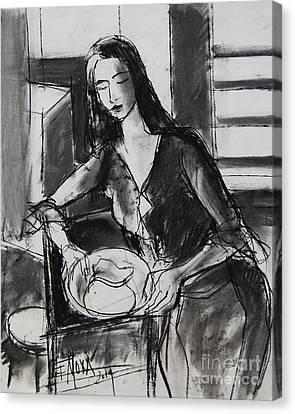 Model #5 - Figure Series Canvas Print by Mona Edulesco