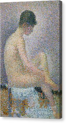Model In Profile Canvas Print by Georges Pierre Seurat